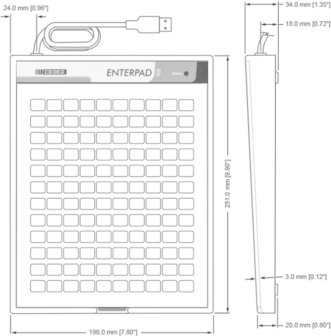 Enterpad P120 Overall Dimensions