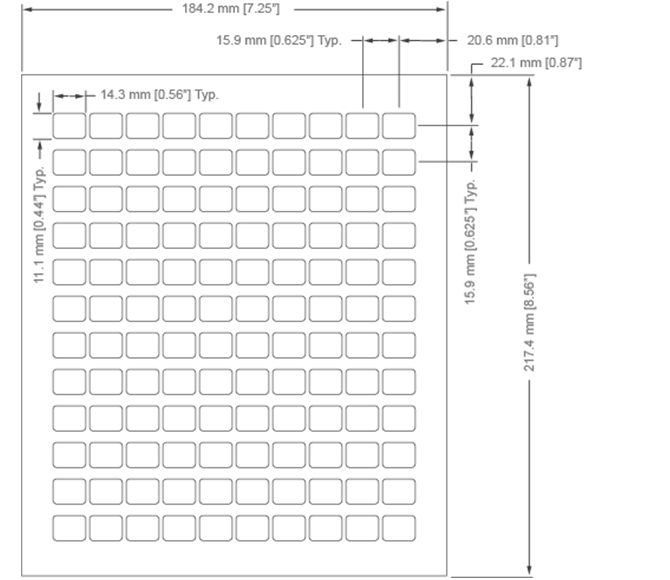 Enterpad P120 Overlay Sheet Dimensions